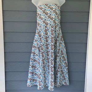 J.Crew Strapless Floral Dress Tea Length Sz 14